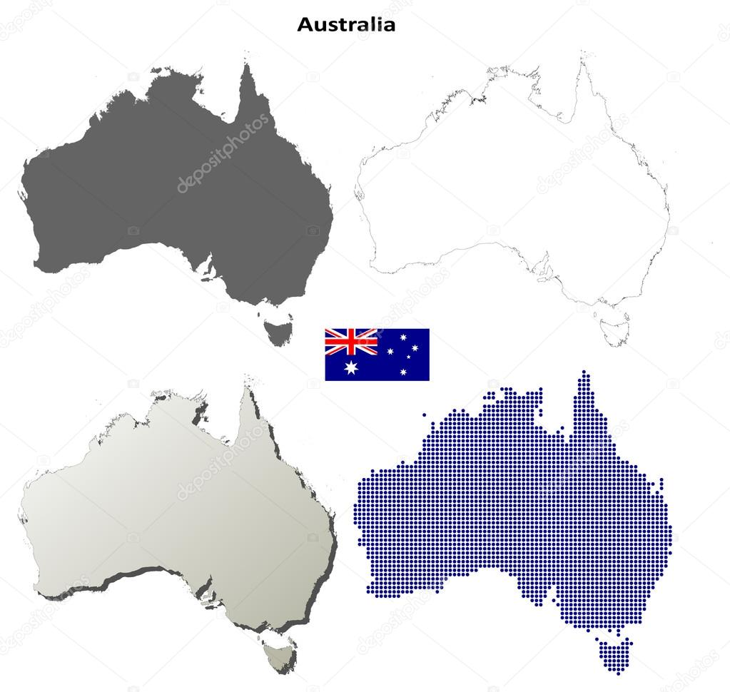 Australia outline map set — Stock Vector © davidzydd #53909717