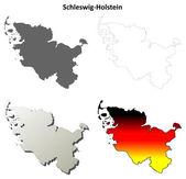 Šlesvicko-Holštýnsko prázdné osnovy mapa sada