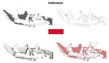 Indonesia blank detailed outline map set