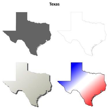 Texas outline map set