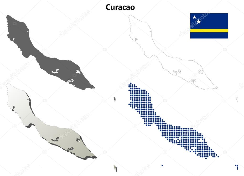 Curacao blank detailed outline map set — Stock Vector ...