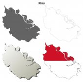 Riau prázdné osnovy mapa sada