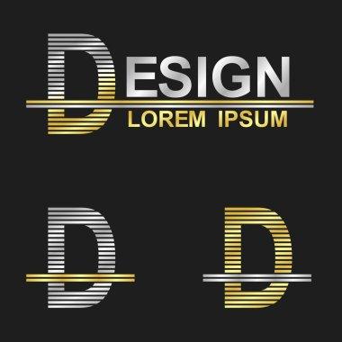 Metallic business symbol font design - letter D (design) stock vector