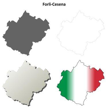 Forli-Cesena blank detailed outline map set