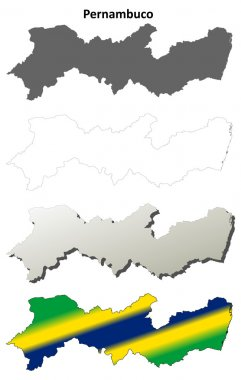 Pernambuco blank outline map set