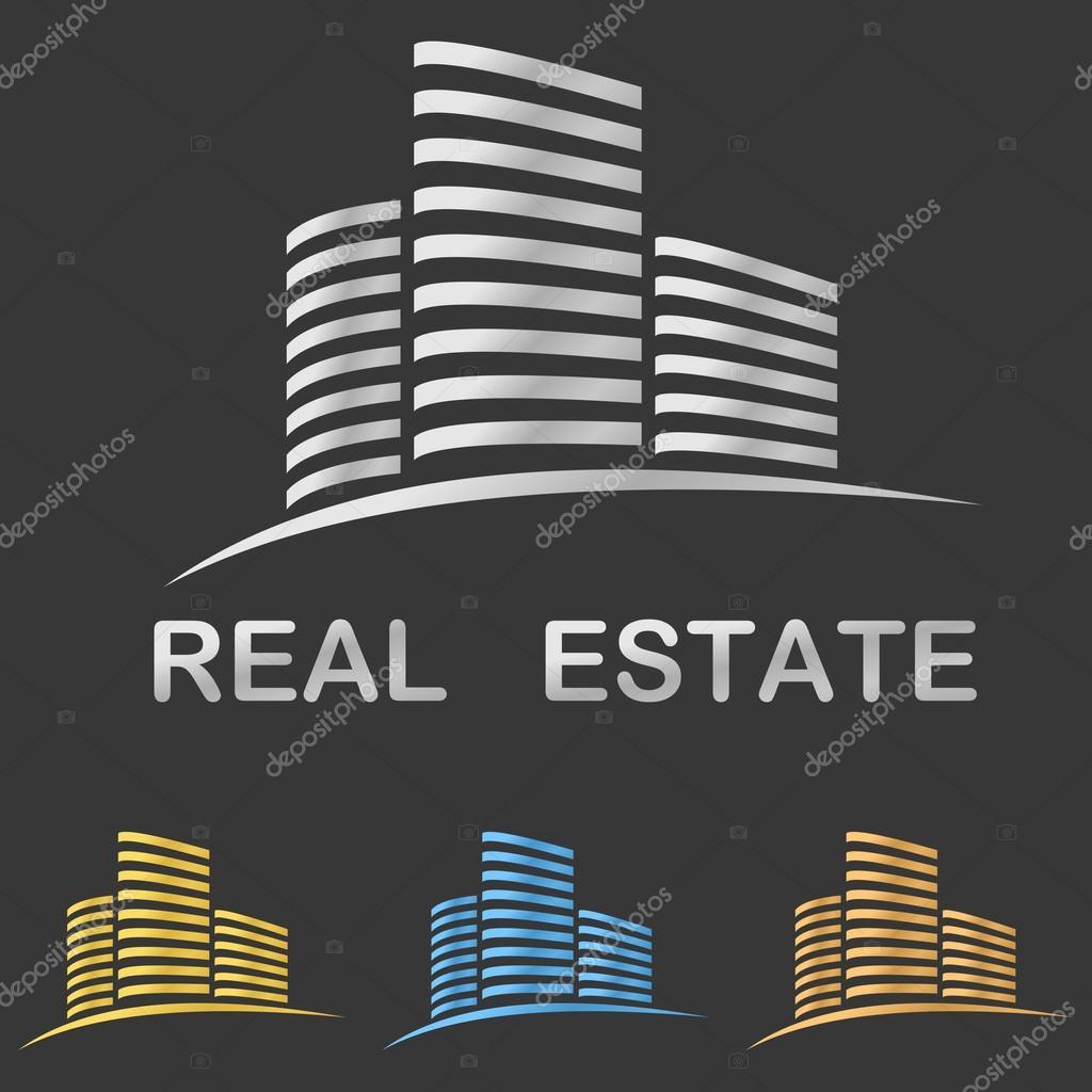 Metallic style real estate vector logo design template