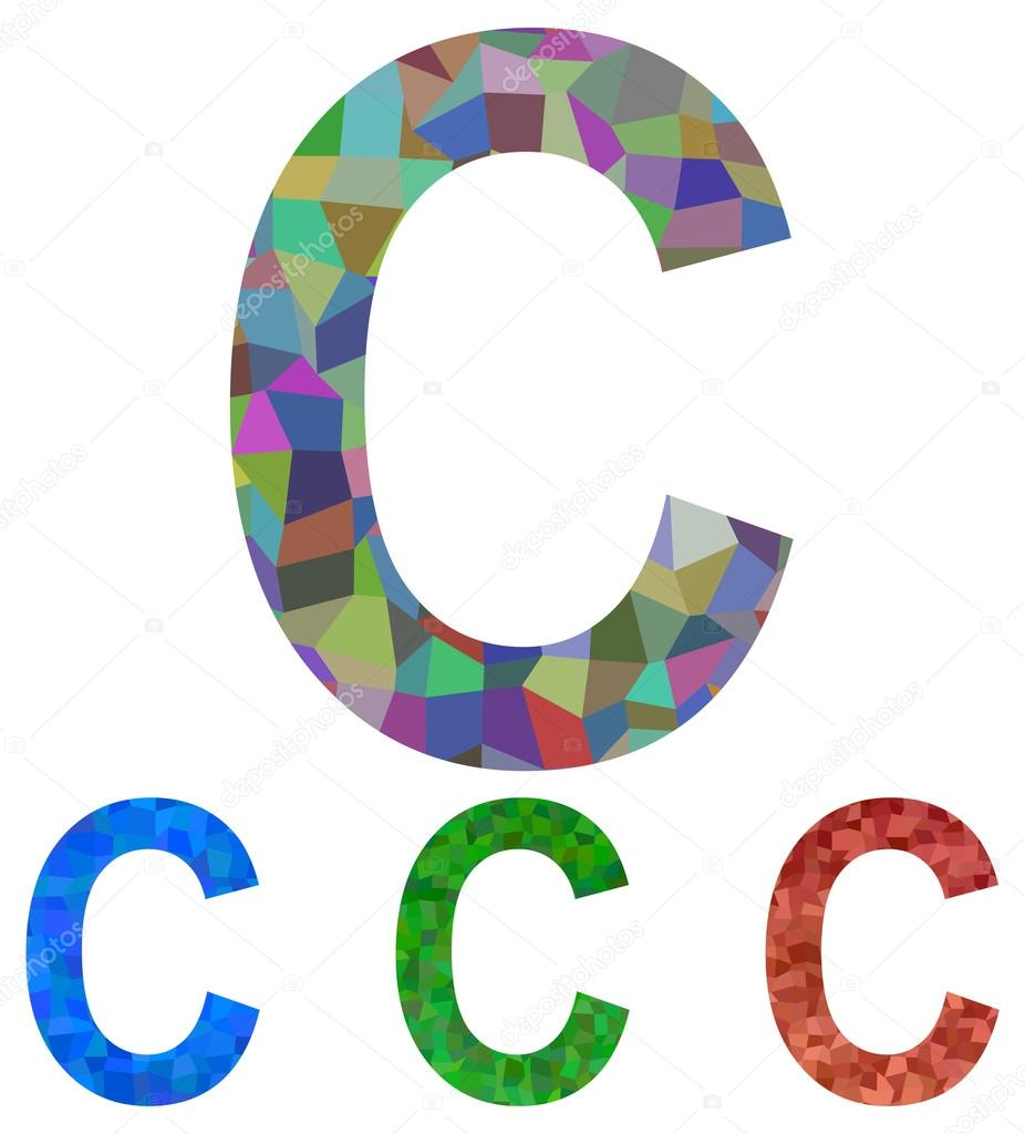 mosaic font design letter c stock vector davidzydd 59458185. Black Bedroom Furniture Sets. Home Design Ideas