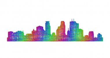 Minneapolis skyline silhouette - multicolor line art