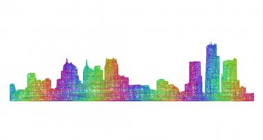 Detroit skyline silhouette - multicolor line art