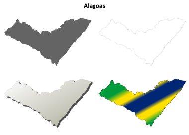 Alagoas blank outline map set