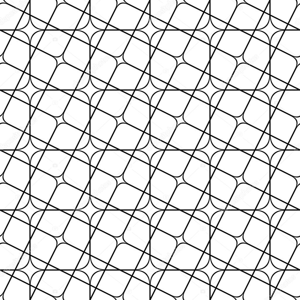 Seamless monochrome angular curved grid pattern — Stock