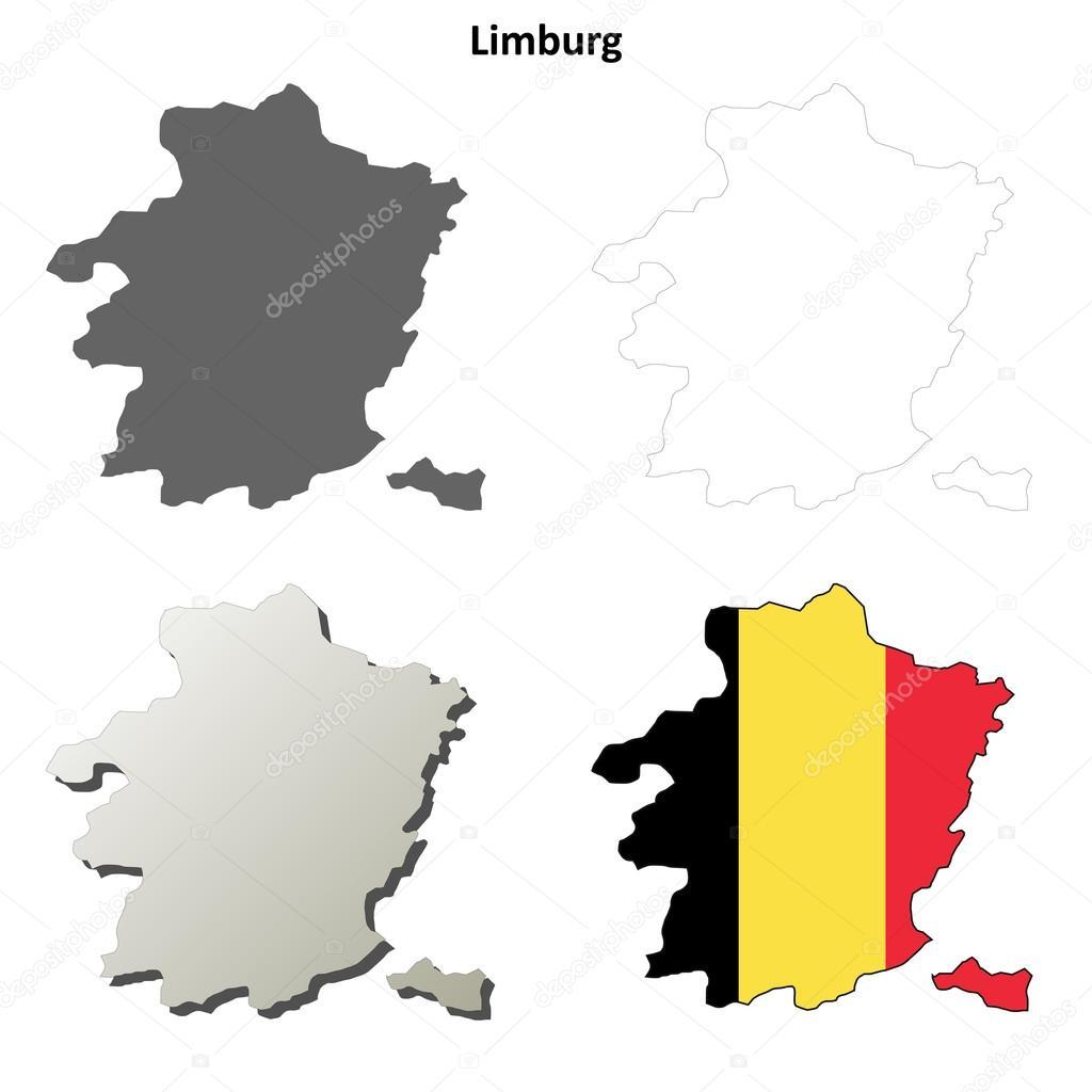 Belgien Karte Umriss.Limburg Umriss Karte Set Belgische Version Stockvektor