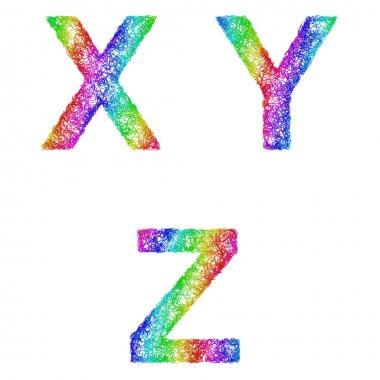 Rainbow sketch font set - letters X, Y, Z