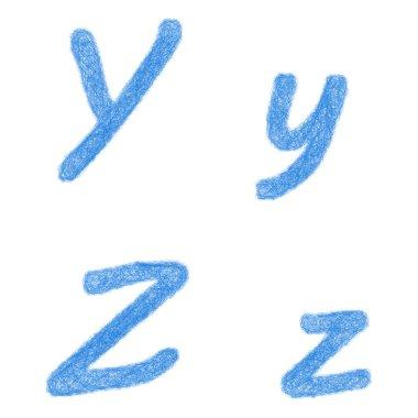 Blue sketch font set - letters Y, Z