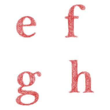 Red sketch font set - lowercase letters e, f, g, h