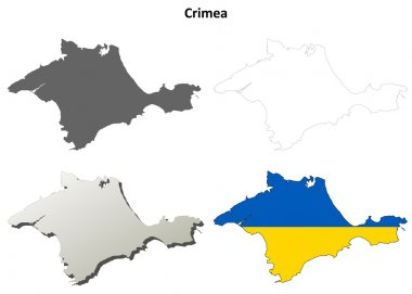 Crimea outline map set - Ukrainian version