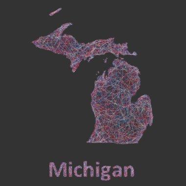 Michigan line art map