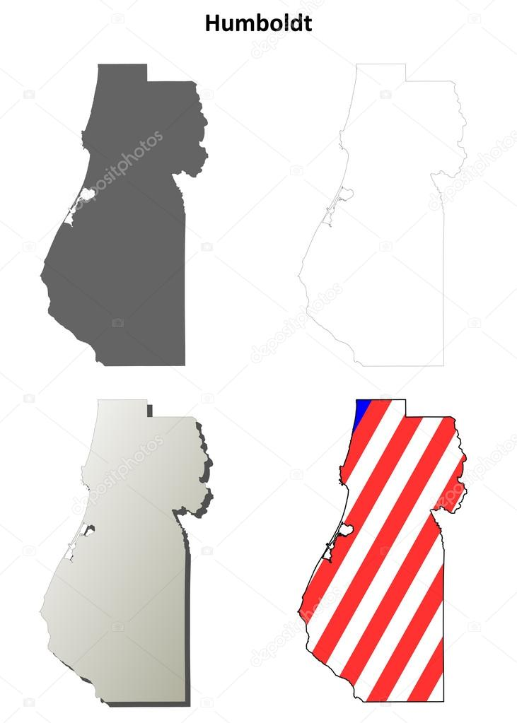 Humboldt County California Outline Map Set Stock Vector