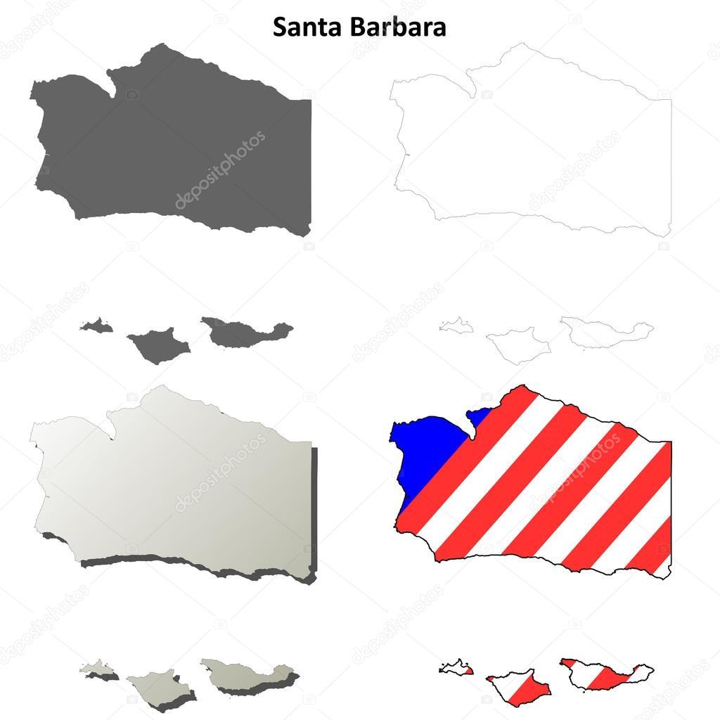 Santa Barbara County California Outline Map Set Stock Vector