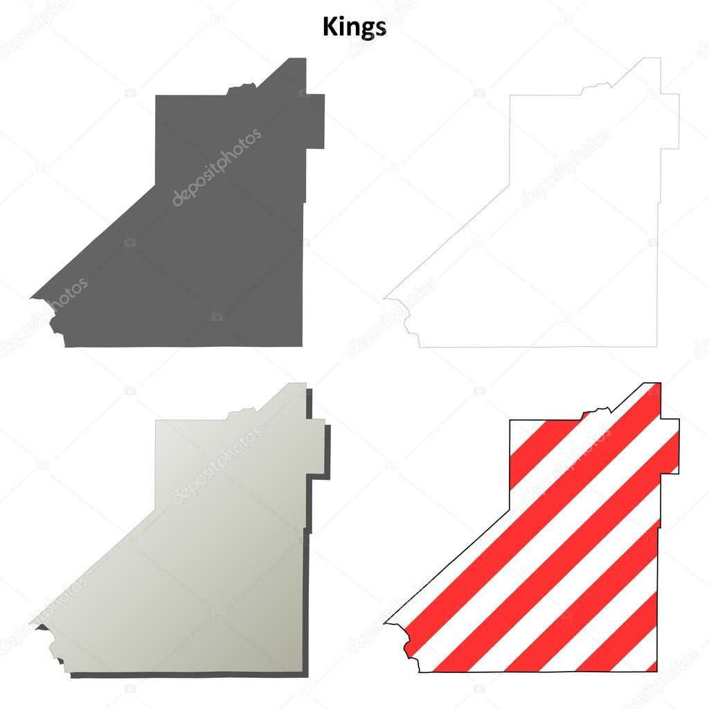 Kings County California Map.Kings County California Outline Map Set Stock Vector C Davidzydd