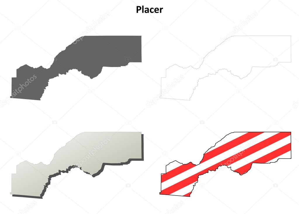 Placer County California Outline Map Set Stock Vector