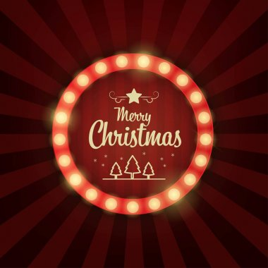 Vector Christmas background retro light sign. icon
