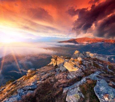 "Картина, постер, плакат, фотообои ""пейзаж в горах. восход"", артикул 81634736"