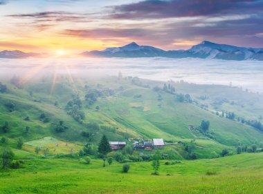 sunrise in the mountain village.