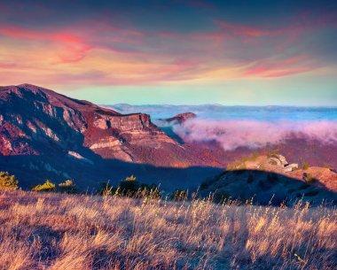Colorful autumn sunrise in the Crimea