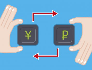 currency exchange. flat illustration with yen ruble symbol