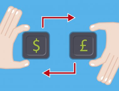 currency exchange. flat illustration with dollar pound symbol
