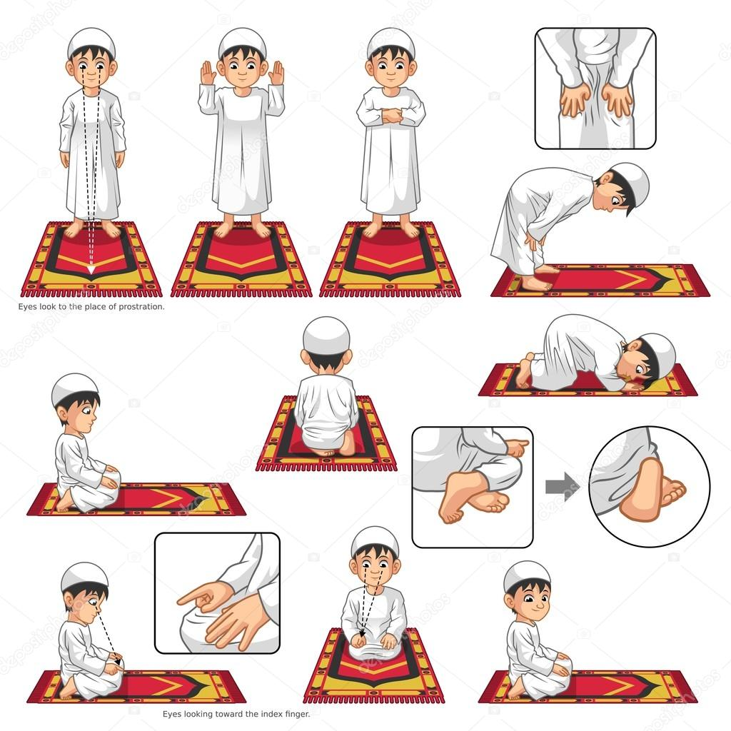 complete set of muslim prayer position guide step by step perform by