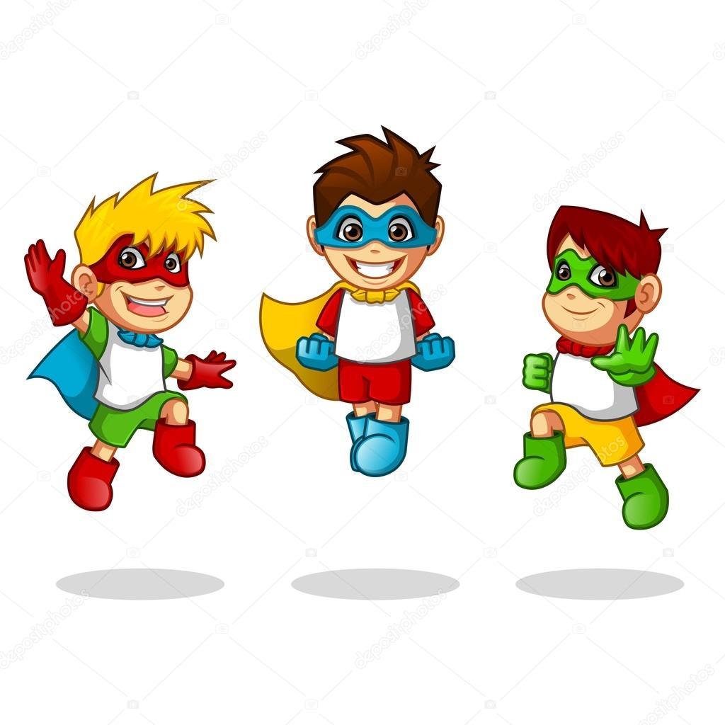 Personaje de dibujos animados infantiles Super Heroes con salto ...