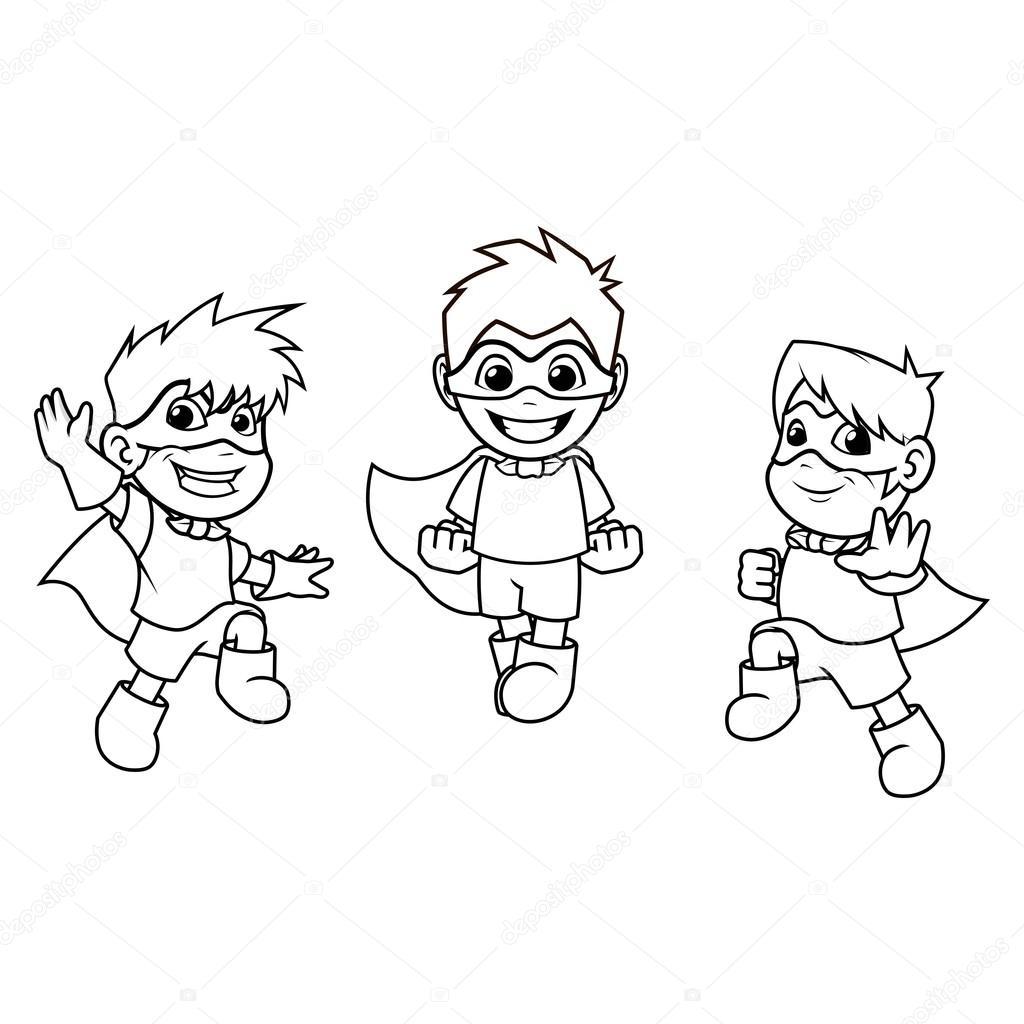 Imágenes Niños Vistiendose Para Colorear Super Heroes Con Salto