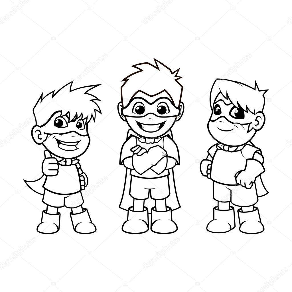Kid Super Heroes Cartoon Character Outline Version Stock Vector C Ridjam 113816824