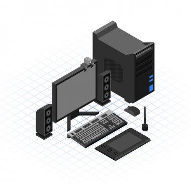 Isometric Desktop Computer Set