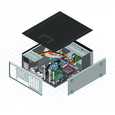 Isometric Personal Computer Vector Illustration