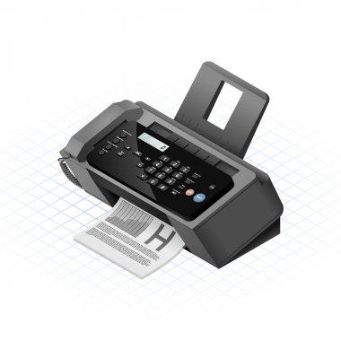 Isometric Fax Machine Vector Illustration