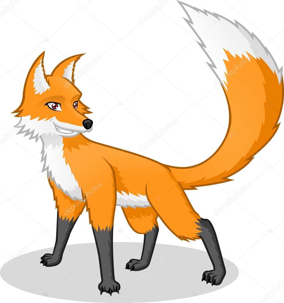 High quality fox vector cartoon illustration stock - Clipart renard ...