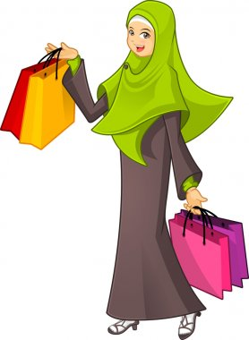 Muslim Woman Holding a Shopping Bag Wearing Green Veil