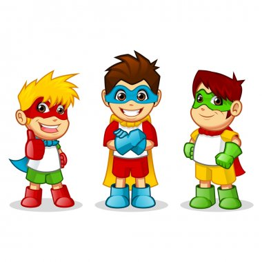 Colorful Kid Super Heroes
