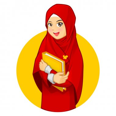 High Quality Muslim Woman with Hugging a Book Wearing Red Veil Vector Cartoon Illustration stock vector