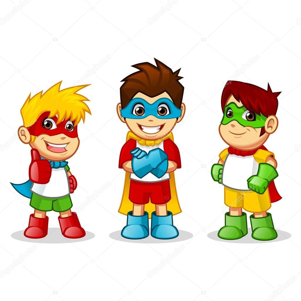 Super Heroes niños coloridos — Vector de stock © ridjam #77443138