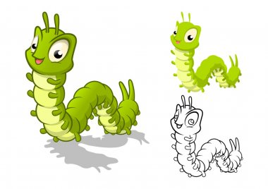Detailed Caterpillar Cartoon Character with Flat Design and Line Art Black and White Version