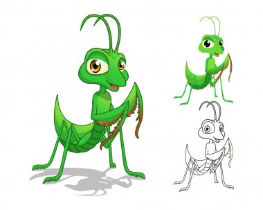 Detailed Praying Mantis Cartoon Character with Flat Design and Line Art Black and White Version