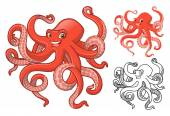 Photo High Quality Octopus Cartoon Character Include Flat Design and Line Art Version