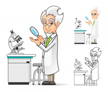 Scientist Cartoon Character Holding a Magnifying Glass with Microscope in The Background