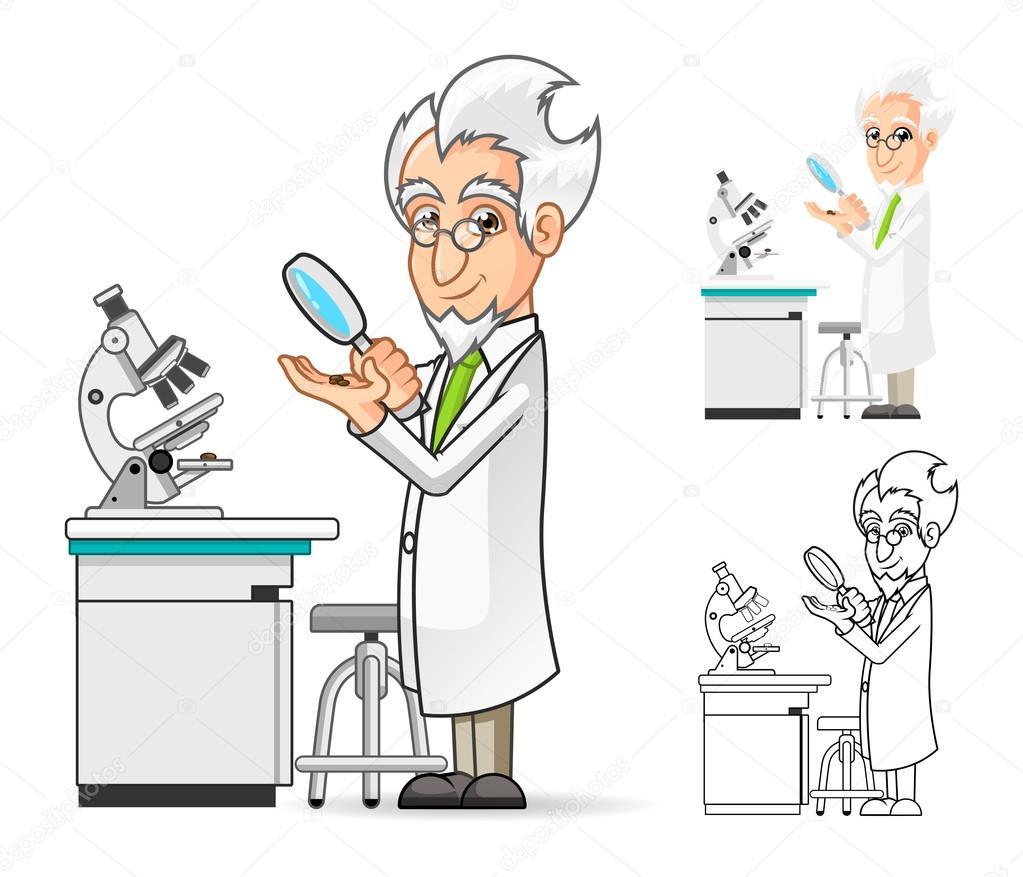 personagem de desenho animado de cientista segurando uma lupa com um