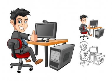 Businessman Cartoon Character working with Computer
