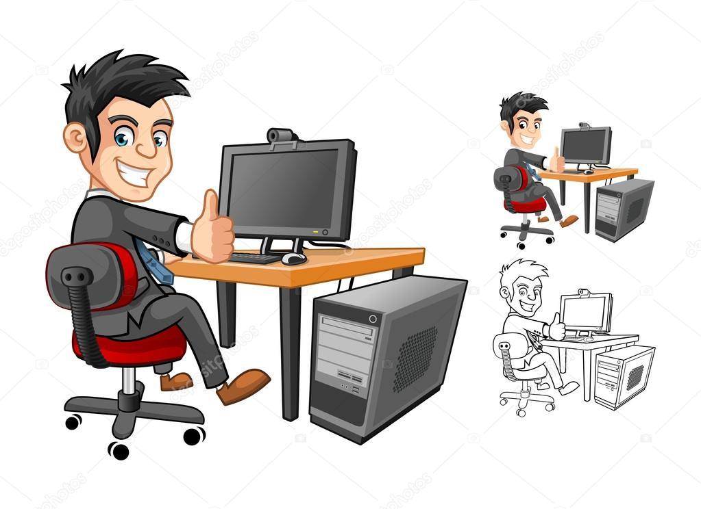 Personaje de dibujos animados hombre de negocios ...